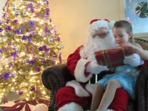 Santa handing out presents.